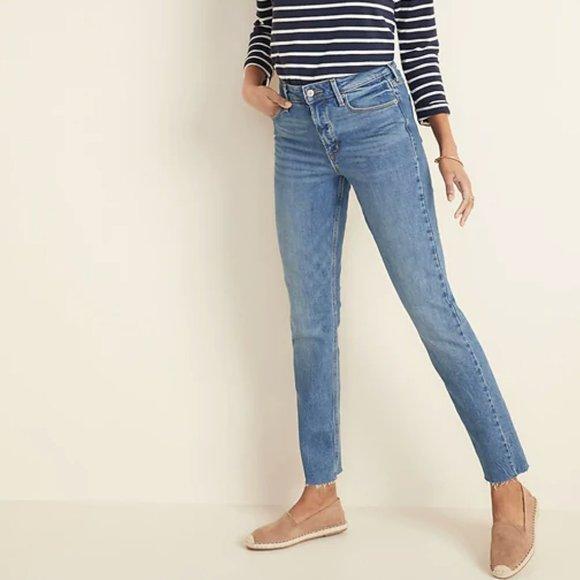 Old Navy high rise power straight raw hem jeans